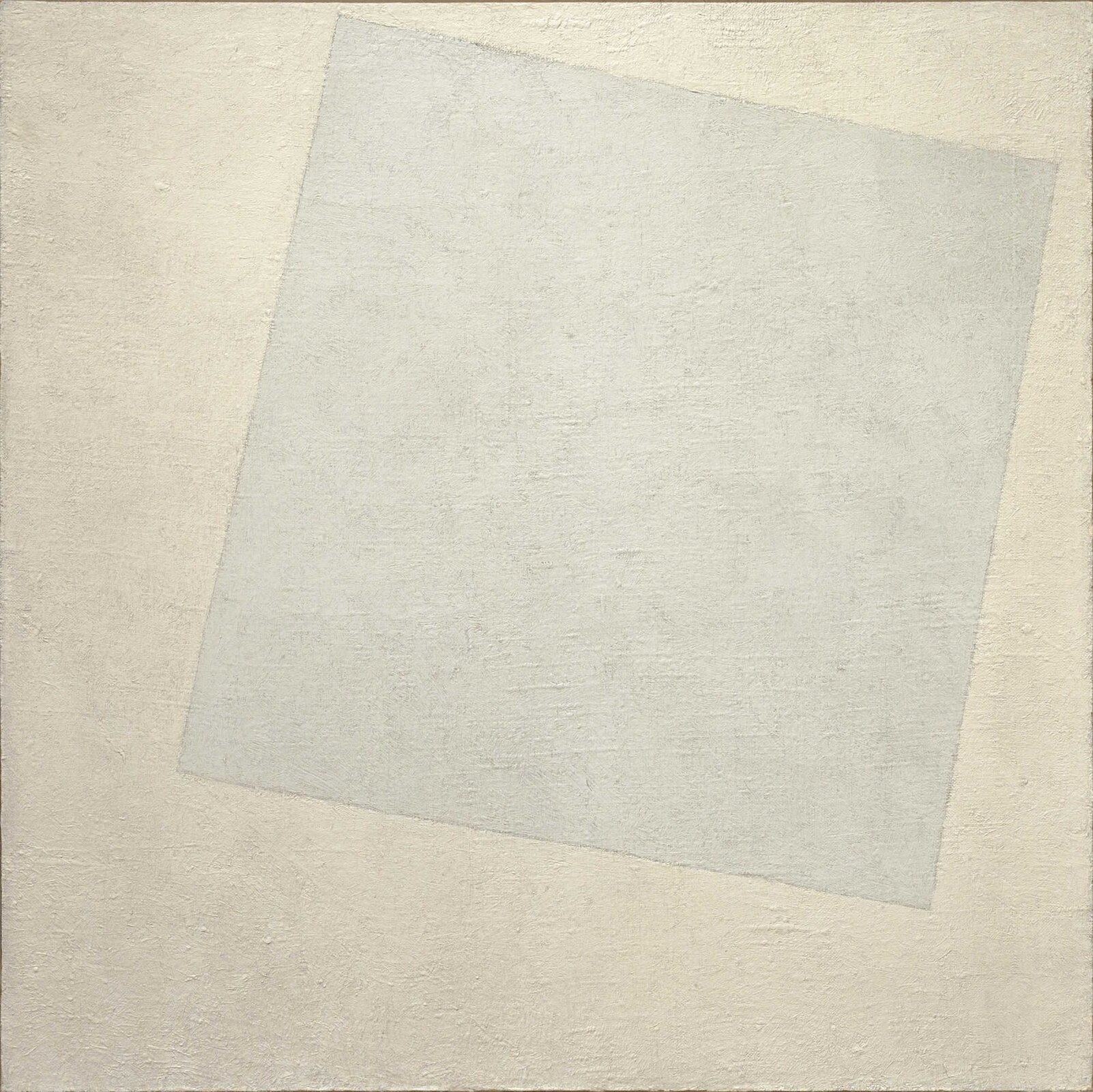 """Ilustracja przedstawia obraz Kazimierza Malewicza pt. """"Kompozycja suprematyczna: białe na białym"""". Ukazuje on jasny kwadratowy blok na biały tle."""