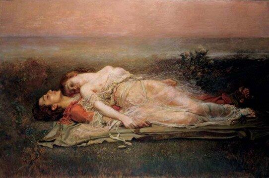 Obraz przedstawia leżącego mężczyznę, na nim plecami leży kobieta. Mają zamknięte oczy. Kobieta ma obnażone piersi iramiona. Leżą na łące. Wtle widać morze.