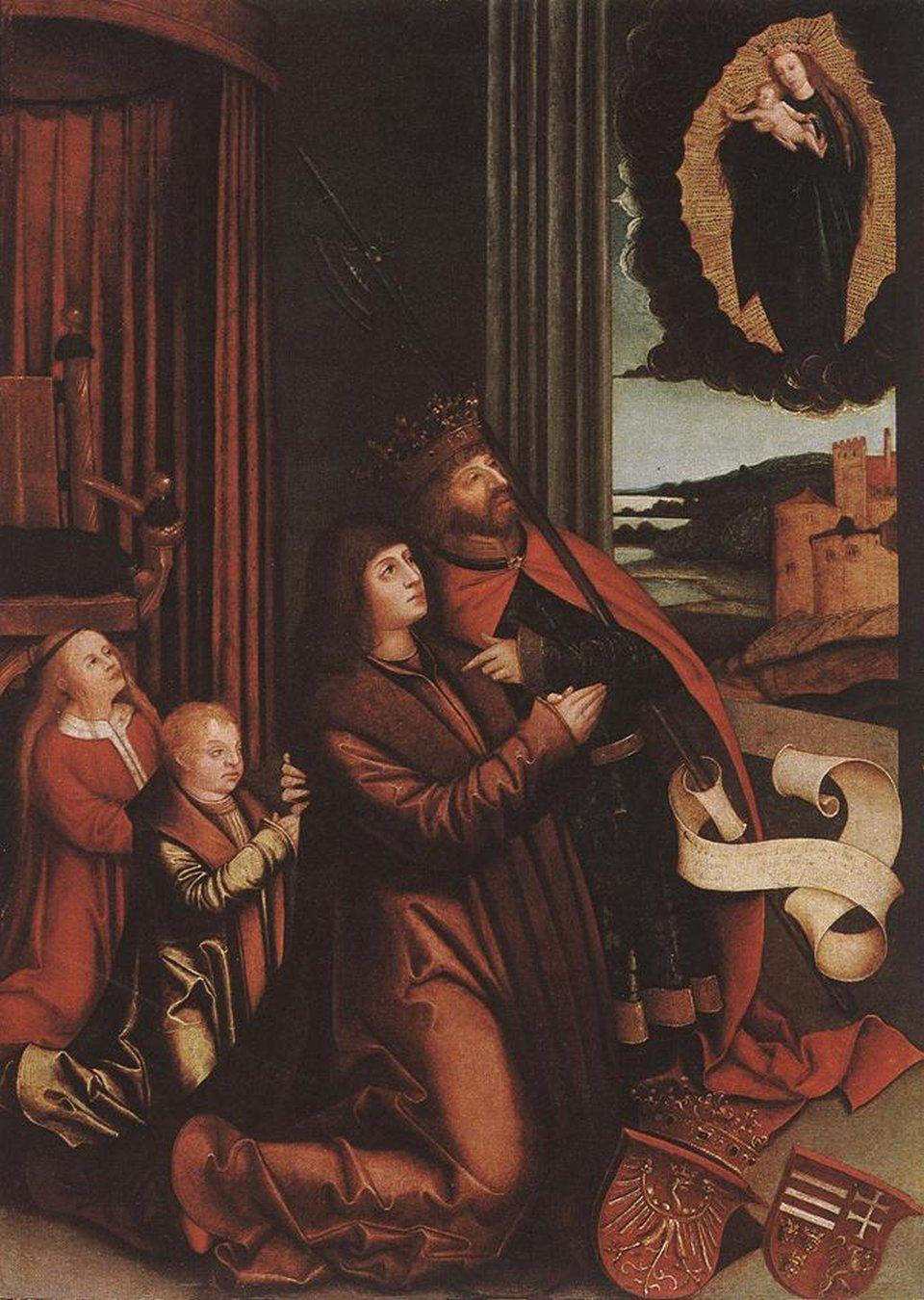 Obraz przedstawia świętego Władysława, który modli się ipoprzez wymowny gest poleca Władysława II Jagiellończyka oraz jego potomstwo opiece Matce Boskiej, która wraz zDzieciątkiem objawia się na niebiosach jako Królowa Niebios. Otoczona jest złocistą, promienistą aureolą wyłaniającą się zciężkich, mrocznych chmur przysłaniających lazurowy firmament nieba. Poniżej rozległy pejzaż zwarownym zamkiem wznoszącym się na wzgórzu. Dzieciątko Jezus udziela błogosławieństwa patronowi Węgier oraz królewskiej rodzinie. Prócz wspomnianego Władysława II modli się dwójka dzieci Anna Jagiellonka oraz Ludwik II Jagiellończyk. Ustóp króla Władysława ukazane godła Królestwa Polskiego oraz Królestwa Węgier, Królestwa Czech iksięstwa Dalmacji.