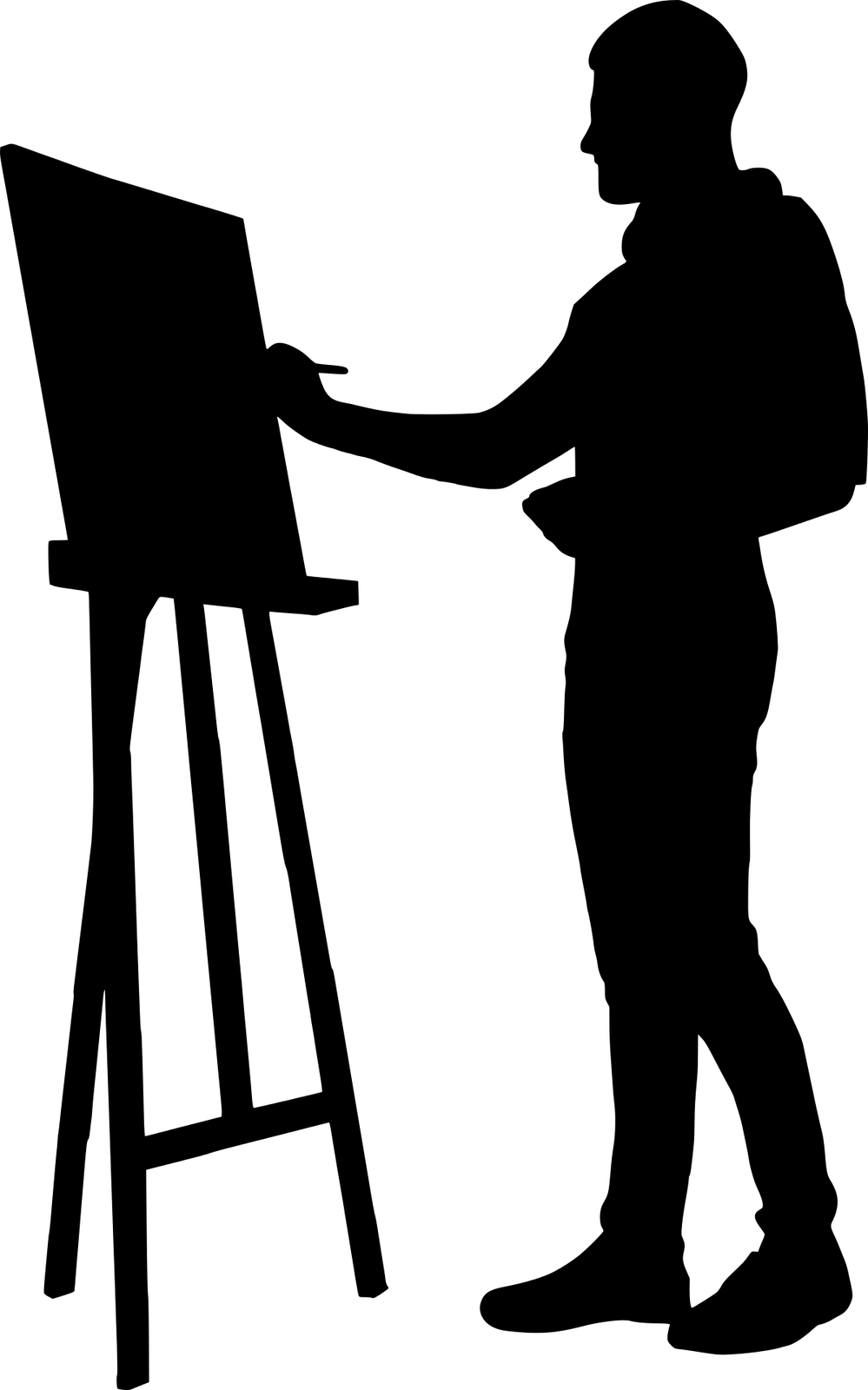 Ilustracja wektorowa przedstawiająca sylwetkę artysty.