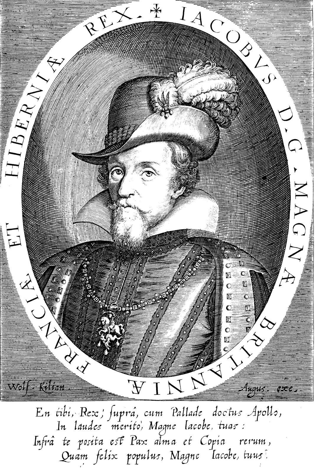 Portret króla Jakuba IAngielskiego iJakuba VI Szkockiego Źródło: Wolfgang Kilian, Portret króla Jakuba IAngielskiego iJakuba VI Szkockiego, ok. 1610–1630, miedzioryt, domena publiczna.