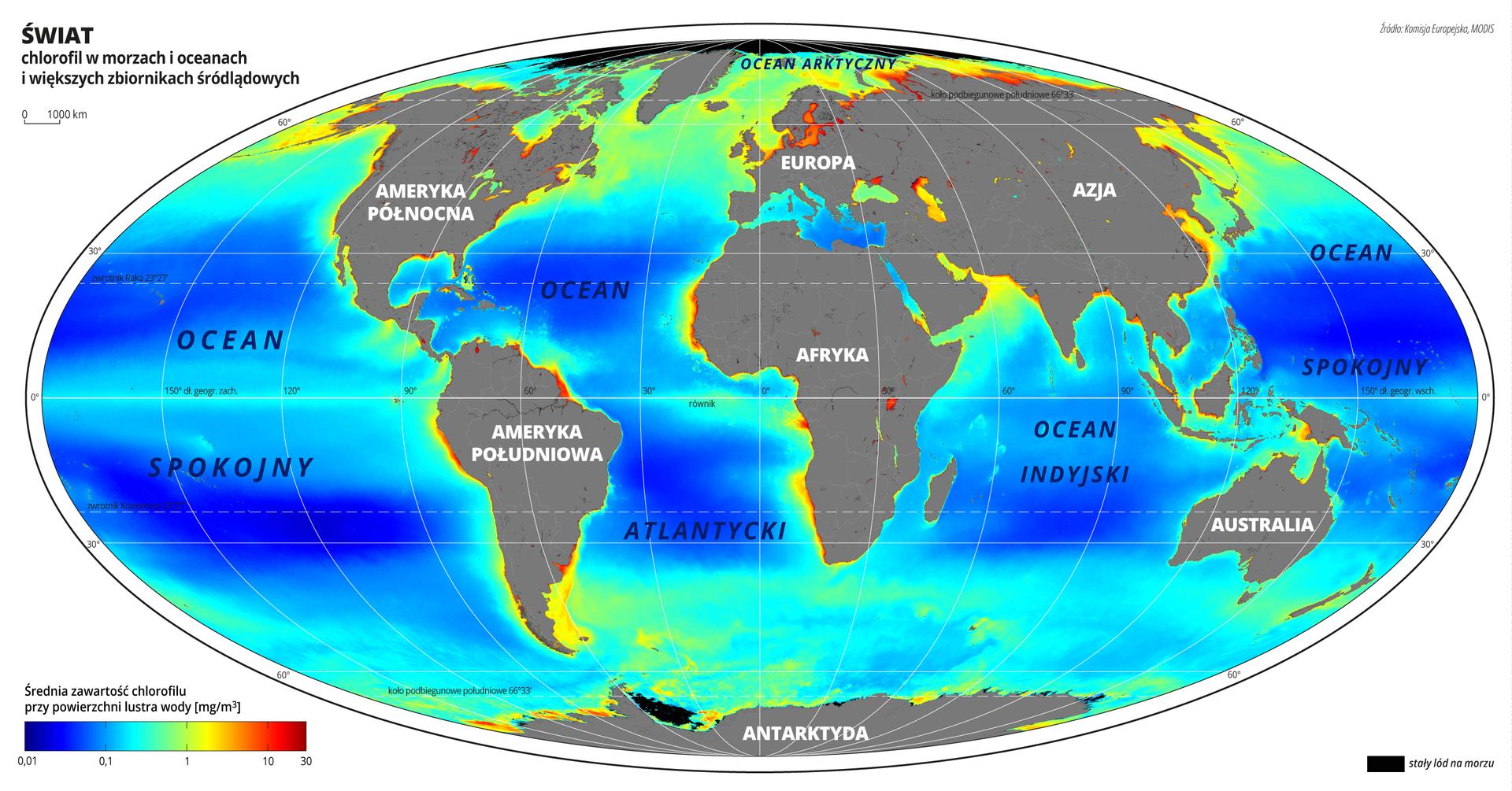 Ilustracja przedstawia mapę świata. Opisano kontynenty.Na mapie za pomocą kolorów przedstawiono średnią zawartość chlorofilu wmorzach, oceanach iwiększych zbiornikach śródlądowych.Oceany są koloru ciemnoniebieskiego iniebieskiego, bliżej lądów kolor przechodzi wzielony, awiększość wybrzeży jest koloru żółtego. Wpobliżu wpływów wielkich rzek do mórz ioceanów kolor jest czerwony.Mapa pokryta jest równoleżnikami ipołudnikami. Dookoła mapy wbiałej ramce opisano współrzędne geograficzne co trzydzieści stopni.Na dole mapy po lewej stronie umieszczono poziomy cieniowany pasek. Zlewej strony kolor ciemnoniebieski przechodzi wjasnoniebieski, następnie przez zielony do żółtego iprzez pomarańczowy do czerwonego. Najniższą zawartość chlorofilu przy powierzchni lustra wody obrazuje kolor ciemnoniebieski – wynosi ona poniżej 0,01 miligramów na metr sześcienny. Kolor zielony obrazuje wartości około jednego miligrama na metr sześcienny, kolor pomarańczowy – dziesięć, akolor czerwony trzydzieści miligramów na metr sześcienny.