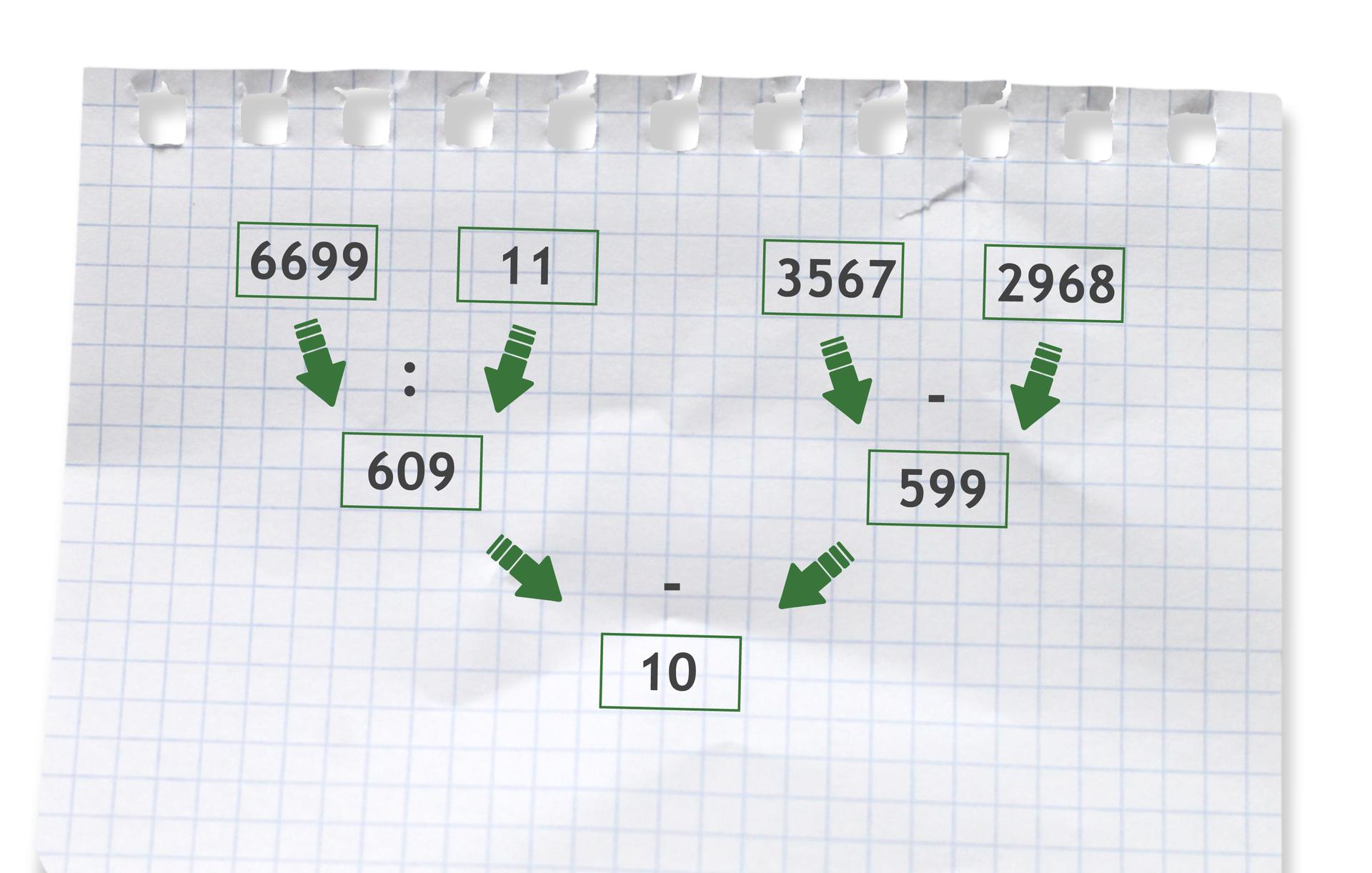 Przykład: 6699 dzielone przez 11 - (3567 - 2968) =609 - 599 =10. Rozwiązanie zadania podpunkt c.