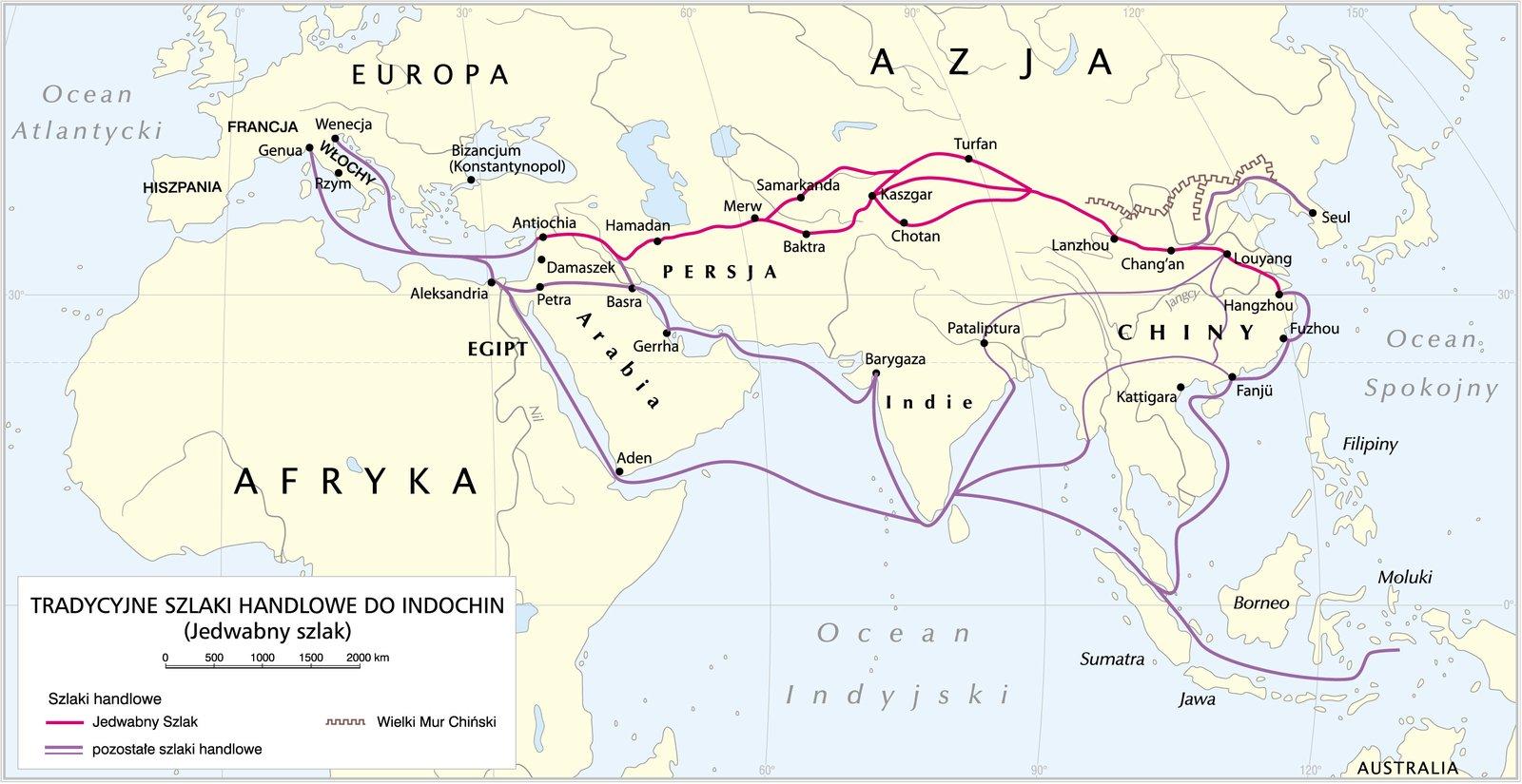 Jedwabny szlak Szlak jedwabny– dawna droga handlowa łącząca Chiny zEuropą iBliskim Wschodem. Szlak miał długość ok. 12 tys. km. Źródło: Krystian Chariza izespół, Jedwabny szlak.