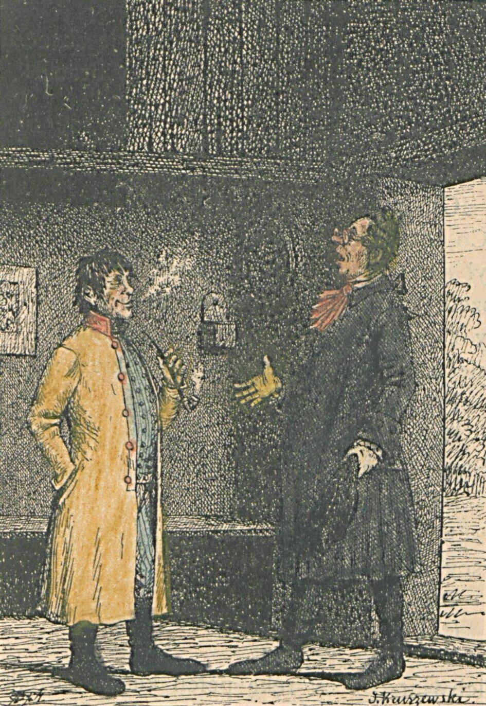 Bajki I. Krasickiego ilustrowane (Chłop ifilozof) Źródło: Józef Wincenty Kruszewski, Bajki I. Krasickiego ilustrowane (Chłop ifilozof), 1886, domena publiczna.