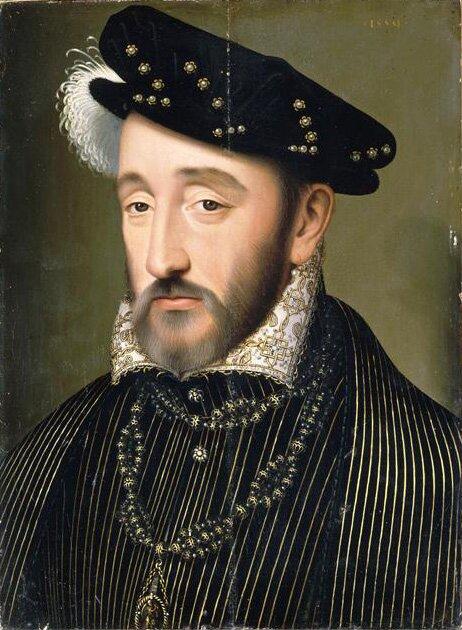 Portret Henryka II, króla Francji Źródło: François Clouet, Portret Henryka II, króla Francji, olej na drewnie, Pałac Wersalski, domena publiczna.