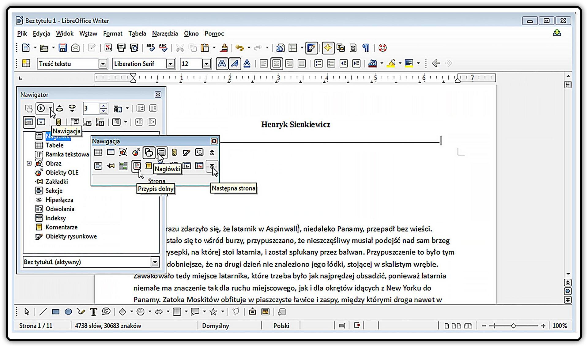 Slajd 1 galerii zrzutów okna programu LibreOffice Writer znarzędziami nawigacji
