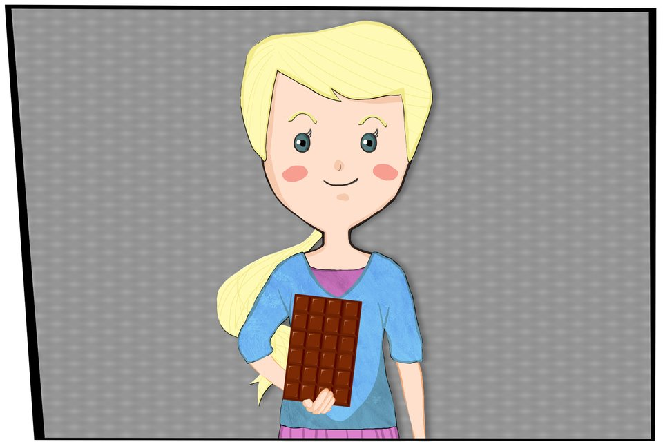 Obrazek dziewczynki, która wręku trzyma czekoladę podzieloną na 24 kawałki.