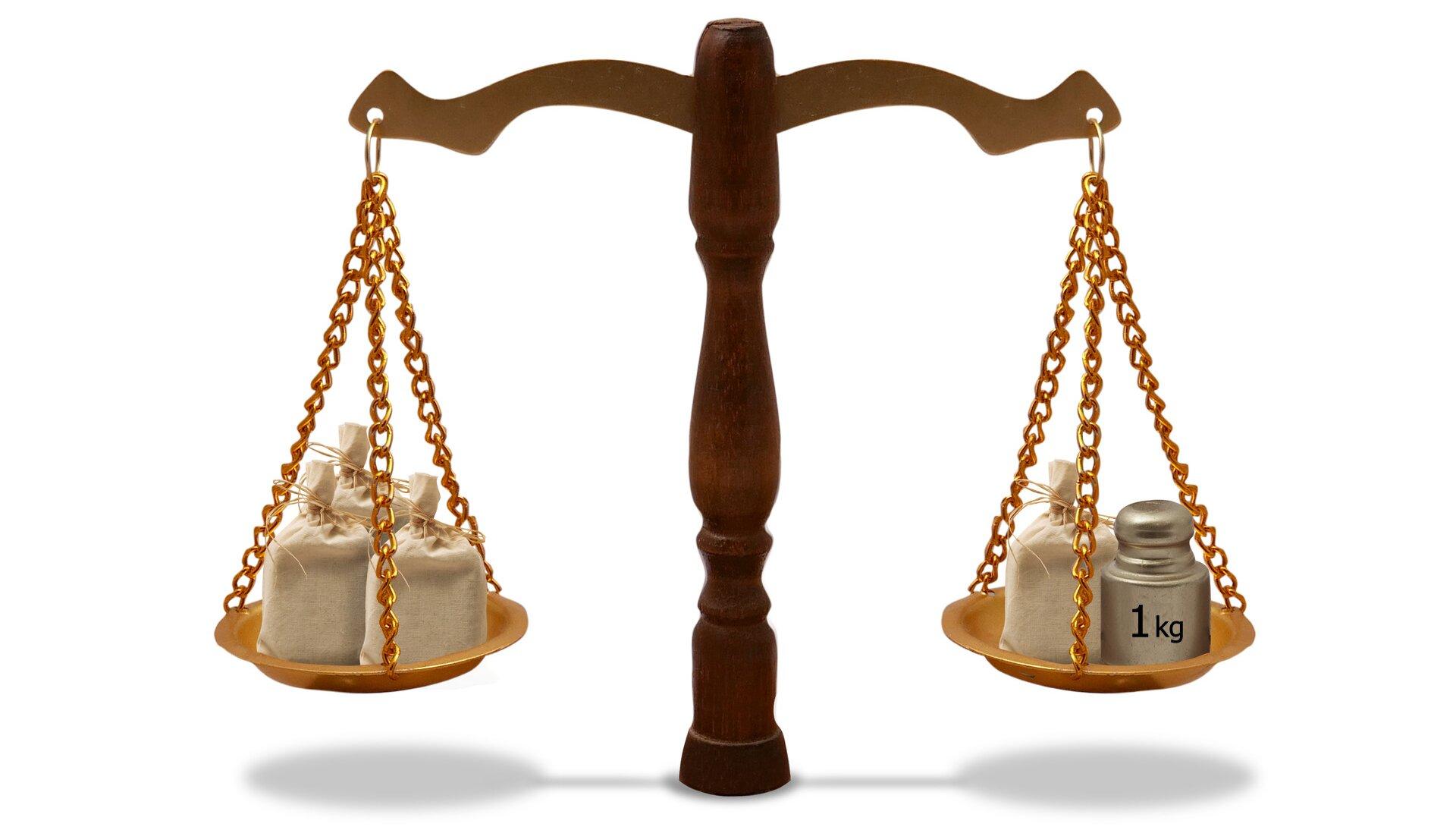 Rysunek wagi szalkowej. Na jednej szalce 3 worki, na drugiej 1 worek iodważnik 1 kg.