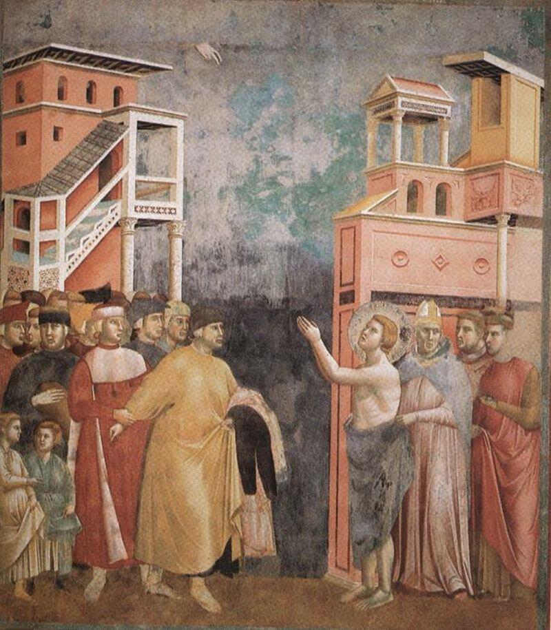 Święty Franciszek rezygnuje zdóbr doczesnych. Franciszek był synem bogatego człowieka. Po doświadczeniach wojennych zrezygnował zdostatniego życia, co symbolizuje zrzucenie przez niego szat. Święty Franciszek rezygnuje zdóbr doczesnych. Franciszek był synem bogatego człowieka. Po doświadczeniach wojennych zrezygnował zdostatniego życia, co symbolizuje zrzucenie przez niego szat. Źródło: Giotto di Bondone, 1288-1292, fresk, domena publiczna.