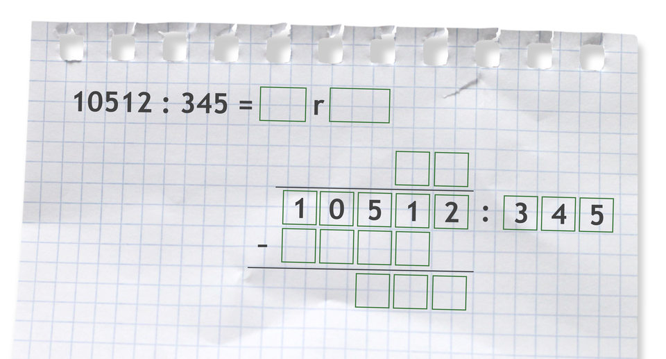 Miejsce do wykonania dzielenia zresztą: 10512 dzielone przez 345.
