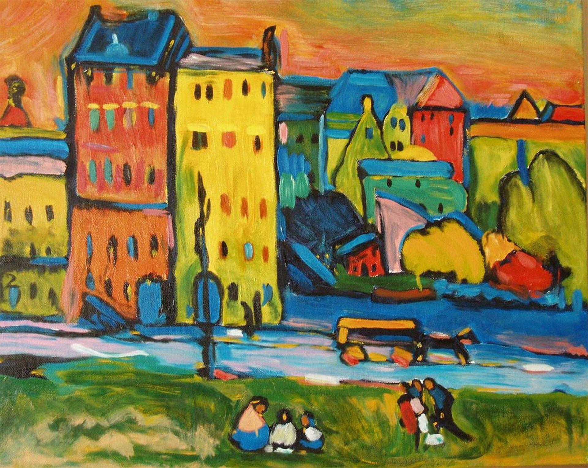"""Ilustracja przedstawia dzieło Wassilygo Kandinsky pt. """"Domy wMonachium"""". Artysta przedstawił wkolorowych barwach wysokie bloki mieszkalne oraz pas zieleni, na której biwakują rodziny."""