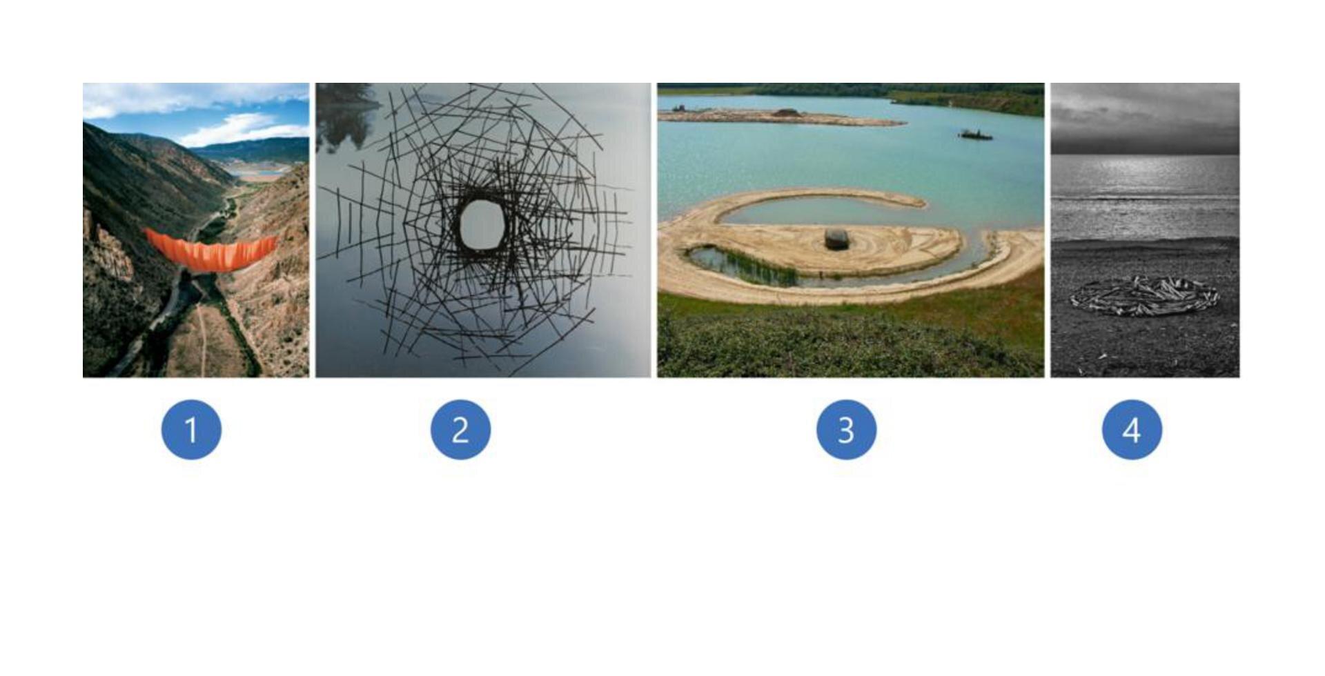 Wzadaniu wykorzystano dzieła, które przedstawiają: - czerwony materiał zawieszony pomiędzy dwoma zboczami wzgórz; - budowlę, zpatyków, która znajduje się nad taflą zbiornika wodnego; - złamany okrąg. Znajduje się on na jeziorze ijest zbudowany zpiachu; - okrąg zbudowany zkamieni ipatyków.