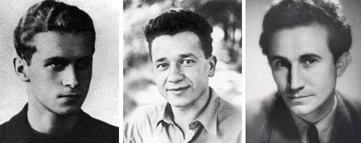 Trzy zdjęcia. Pierwsze zdjęcie przedstawia Krzysztofa Kamila Baczyńskiego wmłodości. Ma krótkie, gęste, falowane włosy, głęboko osadzone oczy. Patrzy zpowagą przed siebie. Kolejne zdjęcie przedstawia Tadeusza Borowskiego. To młody, uśmiechnięty mężczyzna. Ma krótkie, gęste, włosy. Jego grzywka jest postawiona do góry. Ubrany jest wkoszulę rozpiętą pod szyją. Na ostatnim zdjęciu jest starszy mężczyzna - Tadeusz Różewicz. Siedzi. Ma siwe włosy inosi okulary. Jego głowa jest pochylona nieco wdół. Wprawej dłoni trzyma długopis.