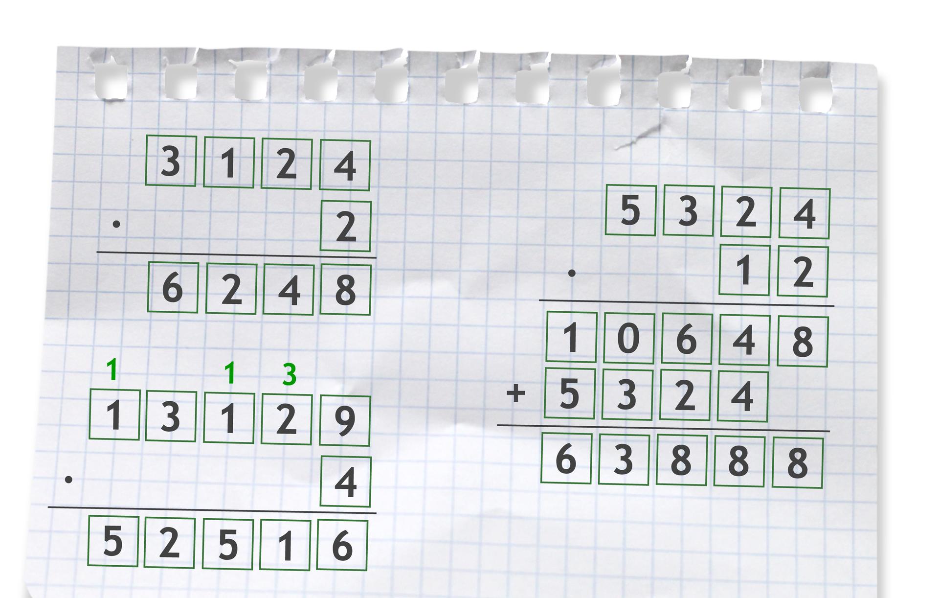 """""""Przykłady trzech działań pisemnych: pierwszy 3124 razy 2 =6248"""