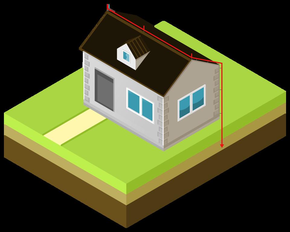 Ilustracja przedstawia domek jednorodzinny. Jest to prosty rysunek domu ze skośnym dachem. Frontowa ściana zwejściem głównym jest skierowana wstronę osoby patrzącej na ilustrację. Wzdłuż lewej strony ściany frontowej oraz wzdłuż dachu jest widoczna czerwona prosta linia. Linia biegnie wzdłuż irównolegle do krawędzi domu ido brzegu dachu. Jest to metalowy pręt zwany piorunochronem. Piorunochron nie styka się ze ścianą domu izdachem. Piorunochron jest przymocowany do domu za pomocą linek. Linki oddalają metalowy pręt na odległość kilkunastu centymetrów. Górna część piorunochronu kończy się powyżej linii dachu. Pionowe metalowe pręty piorunochronu umieszczone na dachu są skierowane wgórę. Dolna część piorunochronu jest umieszczona wziemi. Wziemi znajduje się metalowy przewód uziemiający. Ładunek elektryczny po uderzeniu pioruna jest odprowadzony do ziemi.