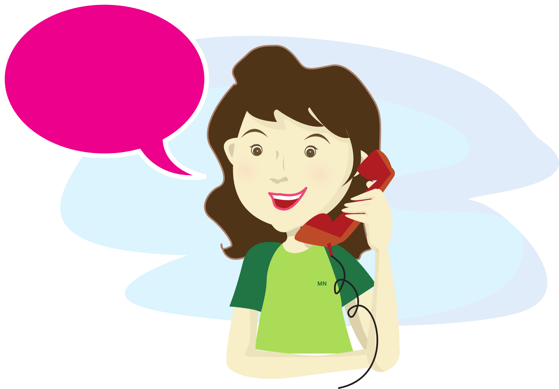 Rysunek usmiechniętej kobiety, która rozmawia przez telefon