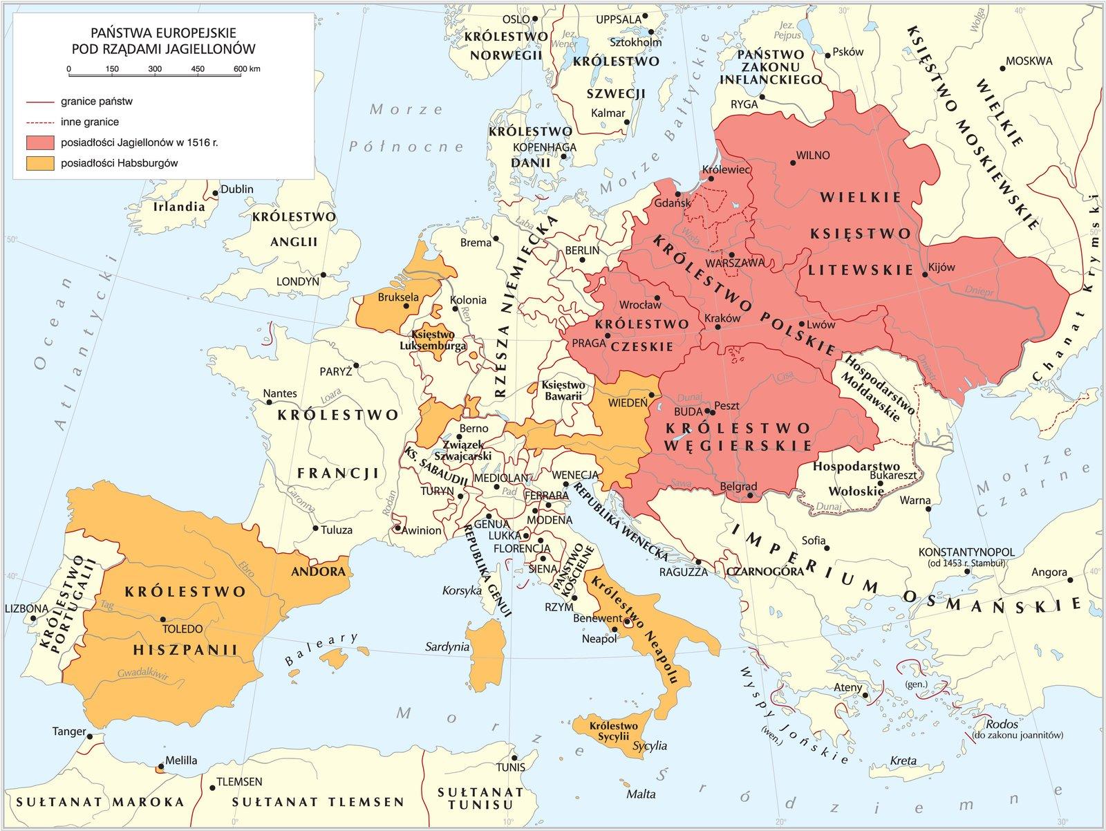 Państwa europejskie pod rządami Jagiellonów Źródło: Krystian Chariza izespół, Państwa europejskie pod rządami Jagiellonów, licencja: CC BY 3.0.