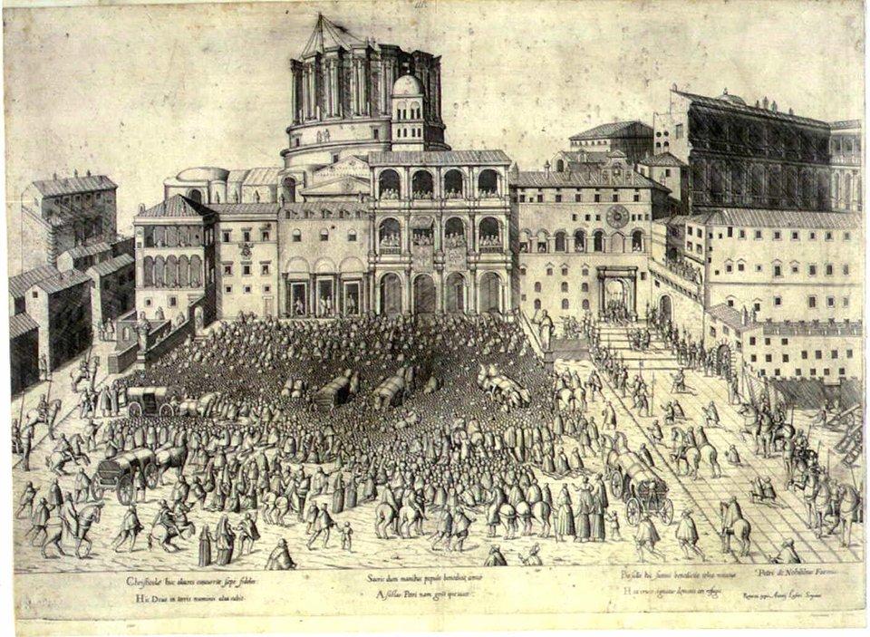 Początki budowy nowej bazyliki św. Piotra wRzymie Początki budowy nowej bazyliki św. Piotra wRzymie Źródło: domena publiczna.