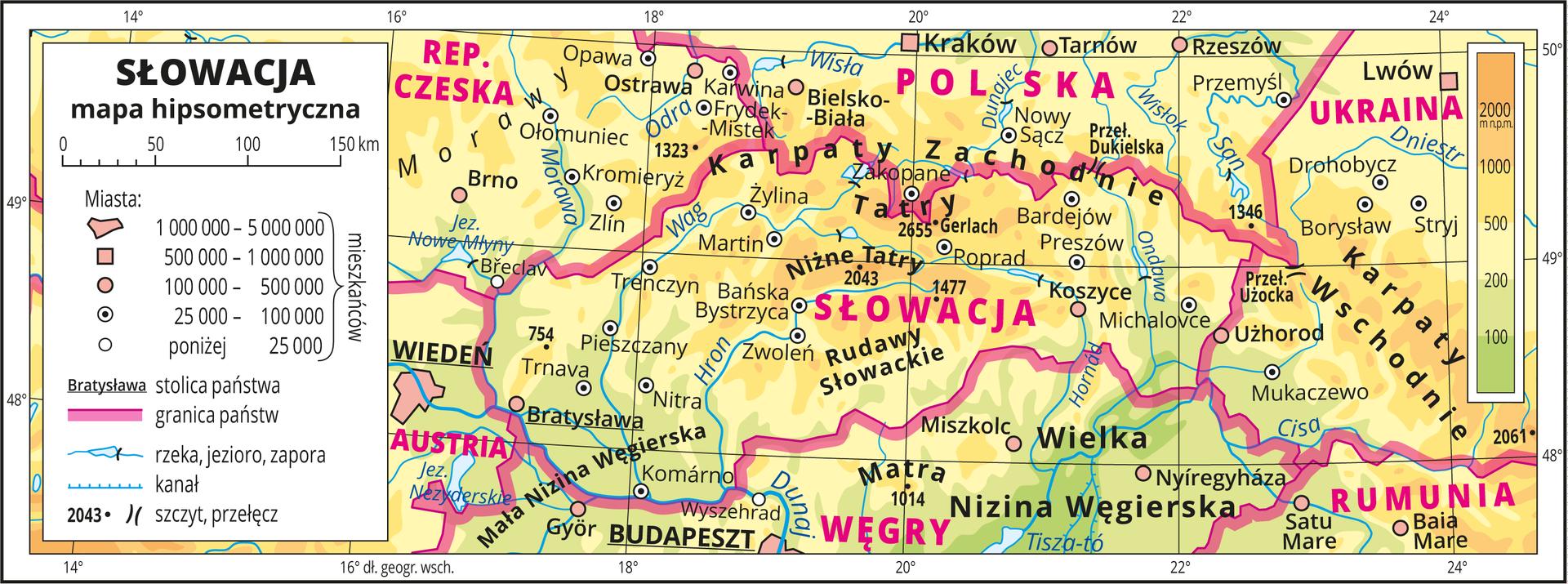 Ilustracja przedstawia mapę hipsometryczną Słowacji. Wobrębie lądów występują obszary wkolorze zielonym, żółtym ipomarańczowym. Przeważają obszary wkolorze żółtym ipomarańczowym. Na mapie opisano nazwy nizin, wyżyn, pasm górskich, rzek ijezior. Oznaczono iopisano główne miasta. Oznaczono czarnymi kropkami iopisano szczyty górskie. Różową wstążką oznaczono granice państw. Kolorem czerwonym opisano państwa sąsiadujące ze Słowacją. Mapa pokryta jest równoleżnikami ipołudnikami. Dookoła mapy wbiałej ramce opisano współrzędne geograficzne co dwa stopnie. Wlegendzie umieszczono iopisano znaki użyte na mapie.