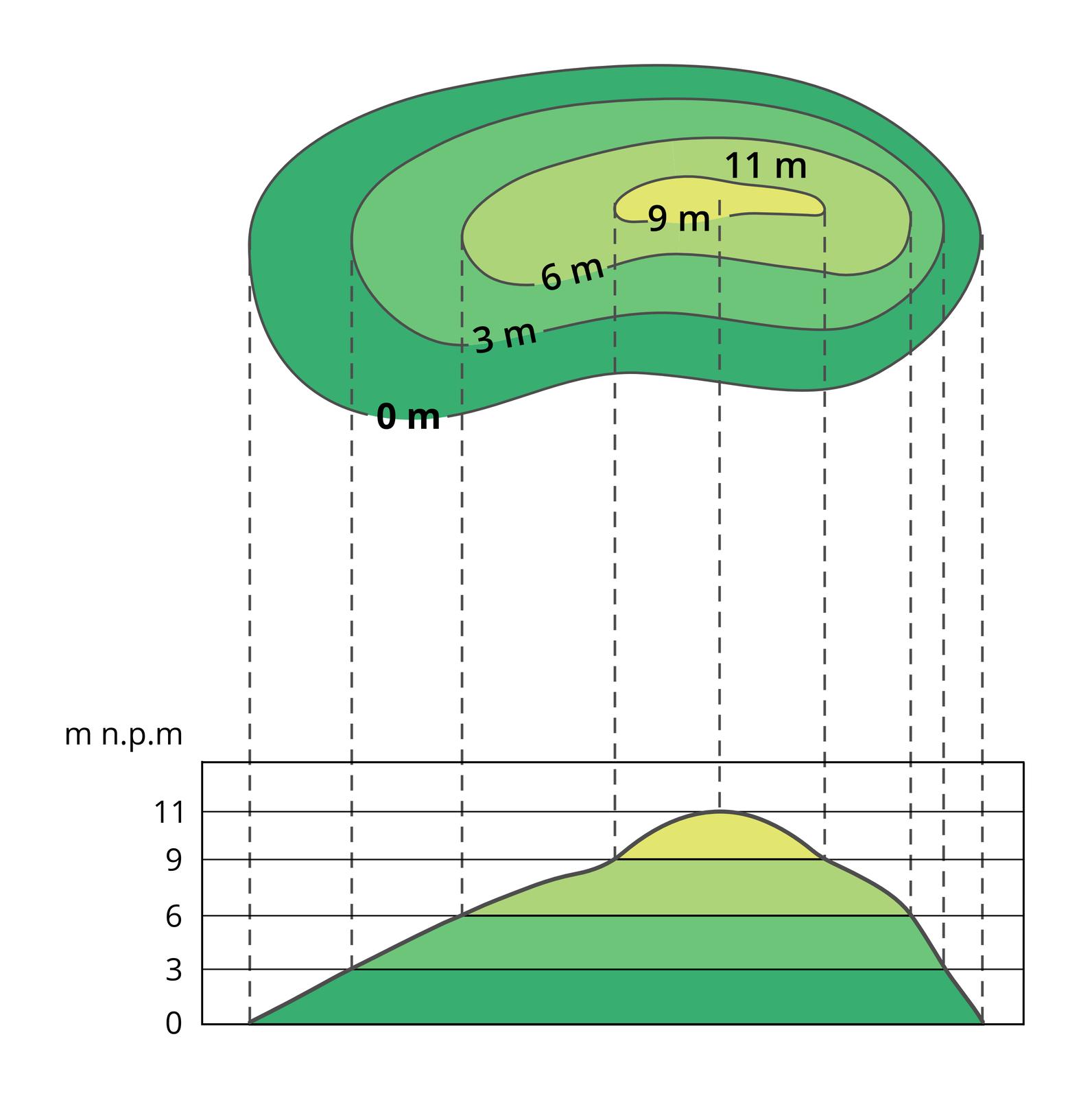 Ilustracja pokazuje sposób tworzenia profilu hipsometrycznego. Rysunek pagórka pokazany za pomocą kilku opisanych wysokościami poziomic iznajdujących się pomiędzy nimi barw hipsometrycznych jest zrzutowany poniżej. Na każdej zlinii pionowych biegnących od skrajnych boków poziomic została zaznaczona jej wysokość pionowa. Połączenie tych wysokości tworzy profil hipsometryczny, czyli wygląd pagórka wprzekroju.