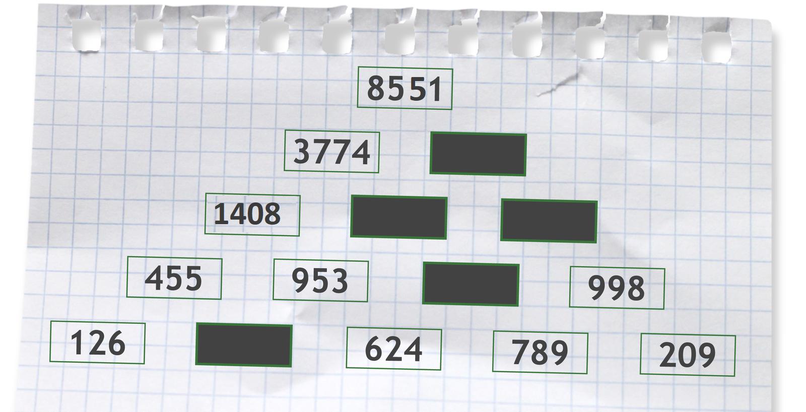 Prostokąty zwpisanymi częściowo liczbami.