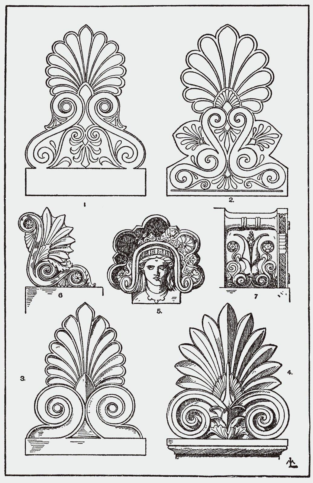 Ilustracja przedstawiająca ornament – palmeta. Element dekoracyjny naszkicowany jest czarnym kolorem bez wypełenień. Na ilustracji widocznych jest siedem elementów. Każdy element kształtem przypomina liście tropikalnej rośliny. Tylko jeden znich (który jest po środku) to element wzbogacony oludzką twarz.