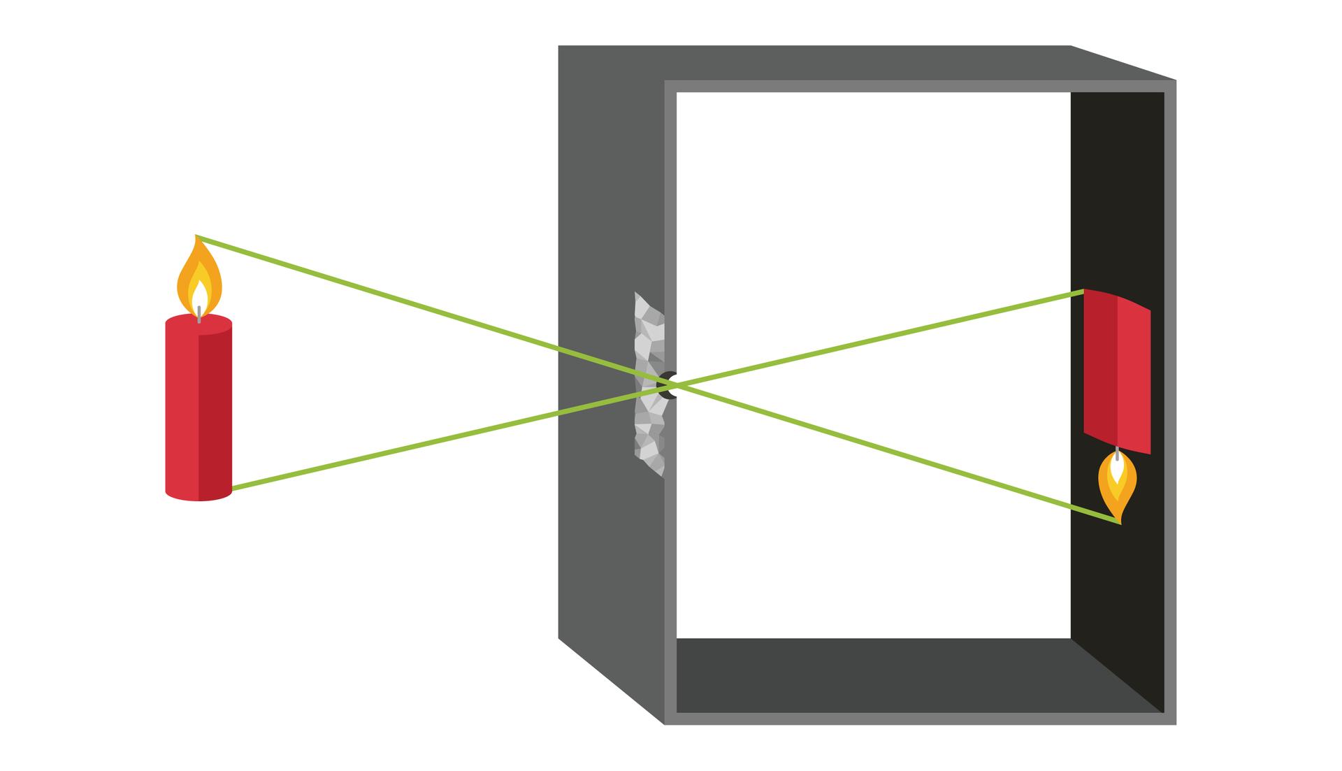 Ilustracja prezentuje wygląd idziałanie camera obscura. Na ilustracji widoczne ściany prostokątnego pudełka. Na zewnątrz pudełka po lewej stronnie znajduje się czerwona paląca się świeca. Od wierzchołków świecy poprowadzono zielone promienie światła, które krzyżują się wotworze znajdującym się wścianie pudełka. Promienie świetlne padają na tylną ciemna ścianę pudełka tworząc obraz odwróconej świecy.