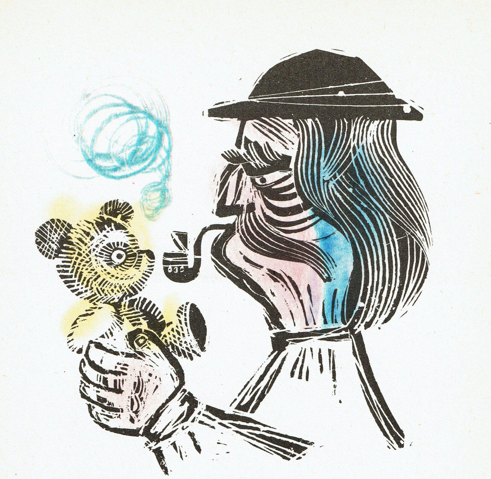 """Ilustracja przedstawia pracę Adama Kiliana zksiążki Janiny Porazińskiej, """"Pamiętnik Czarnego Noska"""". Ukazuje starego górala wkapeluszu odługich włosach, bujnym wąsie idymiącą fajką wustach. Mężczyzna trzyma wdłoniach małego misia."""