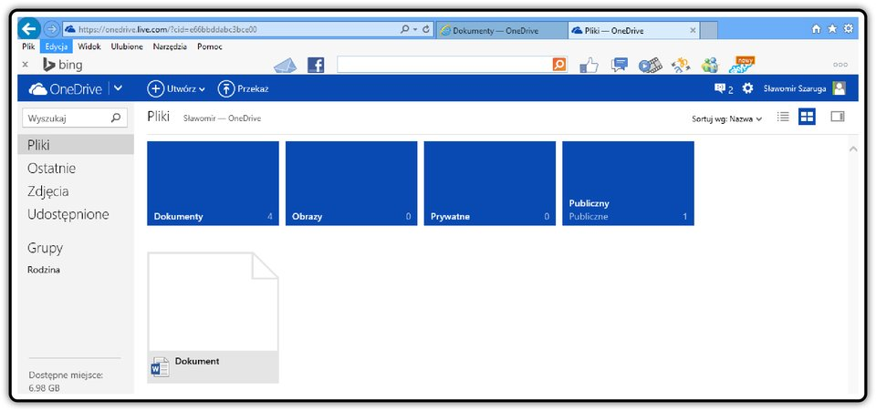 Zrzut okna: Pliki wusłudze OneDrive