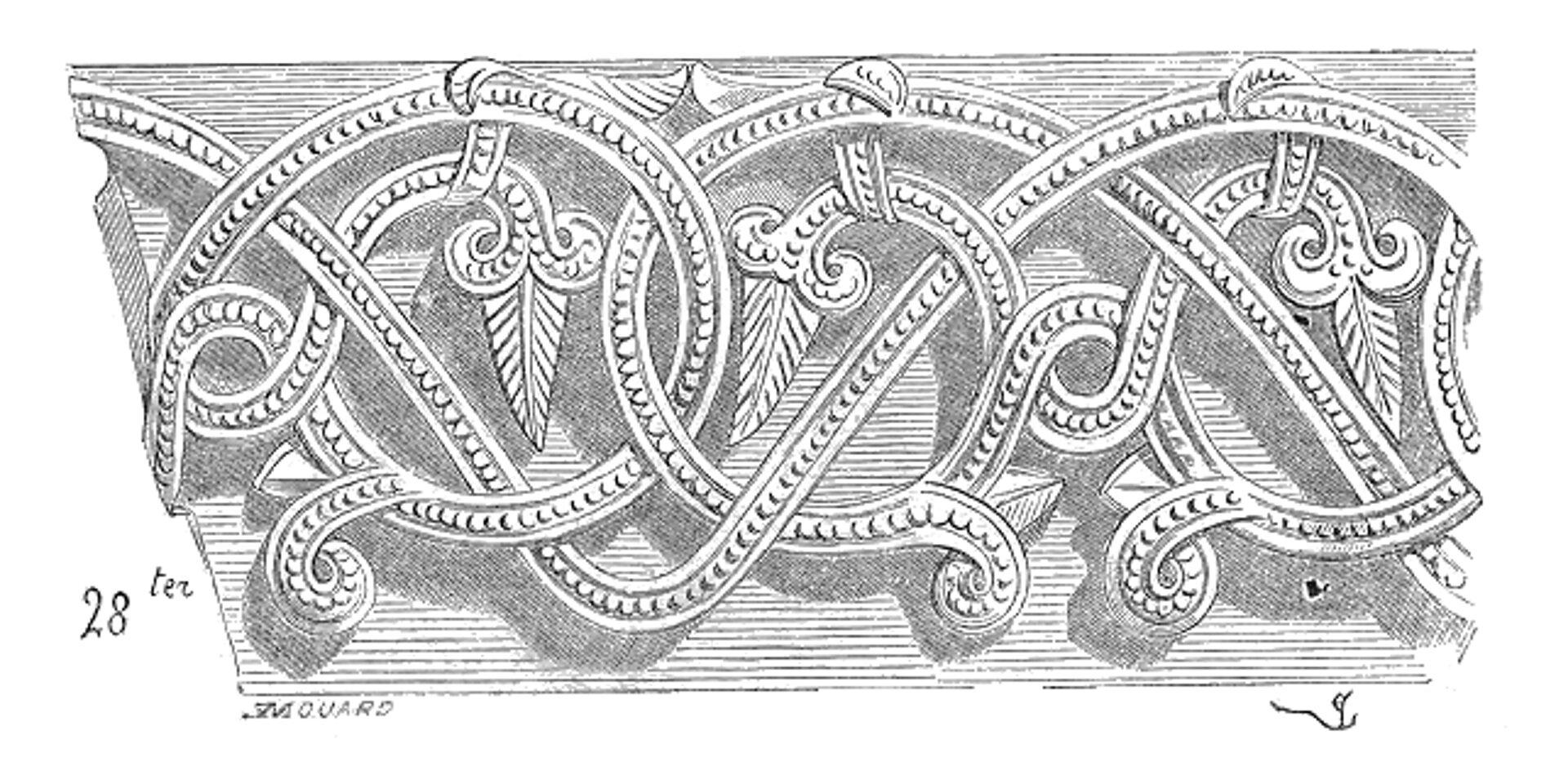 Ilustracja przedstawiająca ornament: plecionka. Element dekoracyjny naszkicowany jest czarnym kolorem. Ornament kształtem przypomina zapętlone nici zwłóczki. Widoczne są także elementy kształtem przypominające liście.