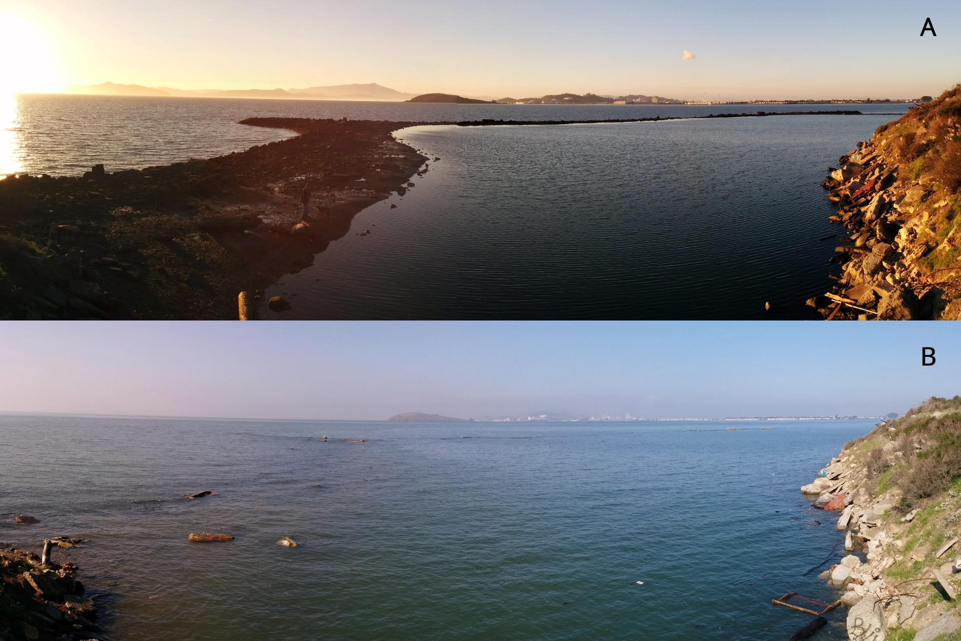 Dwa zdjęcia ułożone poziomo. Na górnym zdjęciu brzeg morza wczasie odpływu. Po prawej stronie zdjęcia widać brzeg. Od lewego dolnego rogu odchodzi łacha piachu, odsłonięta zpowodu obniżenia się poziomu wody wmorzu. Na dolnym zdjęciu to samo ujęcie, woda całkowicie przykrywa łachę piachu. To przypływ.