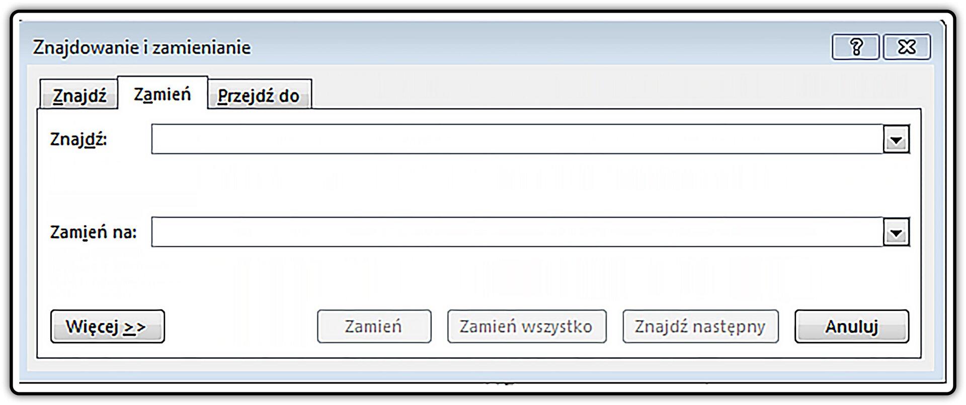 Zrzut okna: Znajdowanie izamienianie wprogramie MS Word