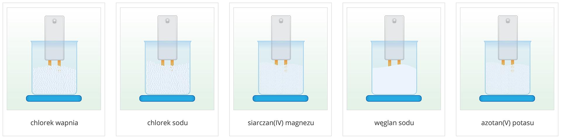 Ilustracja przedstawia pięć rysunków, na których wzlewce wypełnionej jasną solą wstanie stałym rozdrobnionym umieszczone zostaje urządzenie zdwoma metalowymi stykami oraz diodą świecącą służące do badania przewodnictwa elektrycznego ośrodka. Każdy rysunek podpisany jest nazwą soli wzlewce. Niezależnie od soli wżadnym przypadku dioda urządzenia się nie zapala. Ani chlorek wapnia, ani chlorek sodu, ani siarczan cztery magnezu, ani węglan sodu, ani azotan pięć potasu wstanie stałym nie przewodzą zatem prądu elektrycznego.