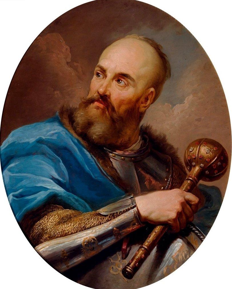 Portret Stanisława Potockiego zwanego Rewera Stanisław Potocki, zwany Rewera, hetman wielki koronny, uczestnik wojen zTurcją, Szwecją, Moskwą iKozakami.Znakomity dowódca, choć hetmanem wielkim został nieco przez przypadek. Król Jan II Kazimierz szachował magnatów perspektywą nominacji hetmańskiej iaby nie utracić tego atutu, mianował Potockiego, licząc, że ze względu na podeszły wiek, dosyć szybko umrze. Rachuby te spełzły na niczym. Potocki przeżył jeszcze wiele lat, jednak na działaniach armii koronnej negatywnie odbijały się jego częste choroby. W1655 roku po porażce zarmią rosyjsko-kozacką pod Gródkiem Jagiellońskim, zmuszony był poddać się Karolowi XGustawowi. Jako jeden zpierwszych jednak przystąpił do konfederacji tyszowieckiej.Jego przydomek wziął się stąd, że hetman bardzo nadużywałłacińskich słów re vera (w rzeczy samej). Źródło: Marcello Bacciarelli, Portret Stanisława Potockiego zwanego Rewera, 1782-1783, olej, blacha miedziana, Zamek Królewski wWarszawie – Muzeum, domena publiczna.