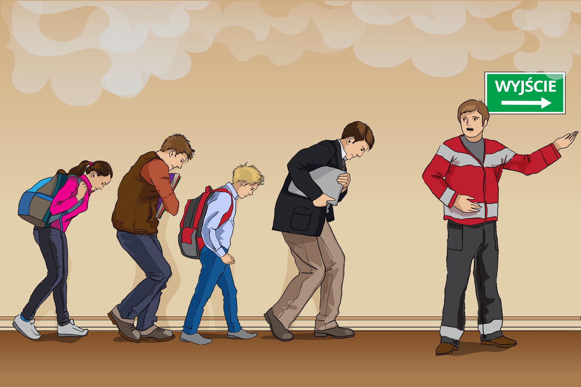 Osoba koordynująca ewakuację wpobliżu wyjścia, co wskazuje tabliczka ztakim właśnie napisem, woła grupę uczniów znauczycielem iwskazuje im kierunek, wktórym powinni się udać.