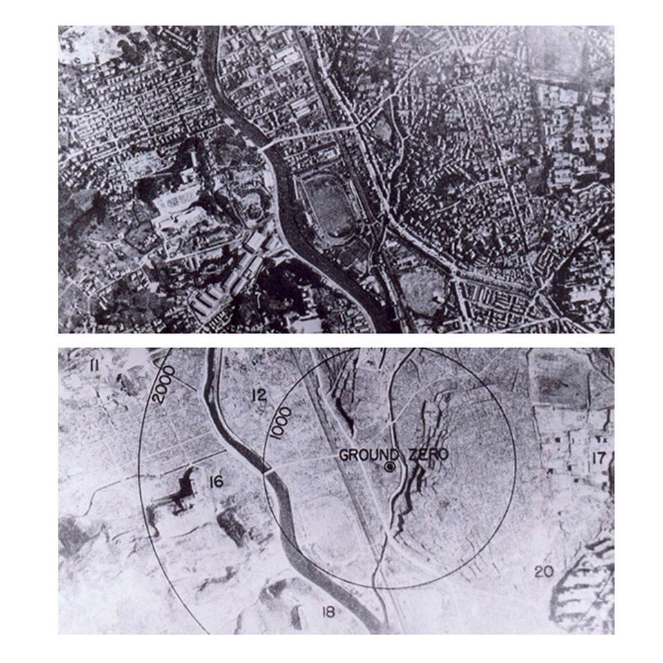Czarno-białe zdjęcie 4: Nagasaki przed ipo zrzuceniu bomby atomowej. Na górze ujęto satelitarne miasta przed zrzuceniem bomby. Na dolne umieszczono Nagasaki po zrzuceniu bomby. Dwa kręgi wskazują na wielkość rażenia bomby. Wewnętrzny krąg to 1000 metrów, zewnętrzny to 2000 metrów od punktu zero.
