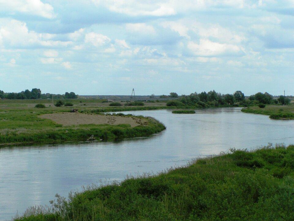 Na zdjęciu kręta rzeka wpłaskim terenie. Brzegi porośnięte trawą.