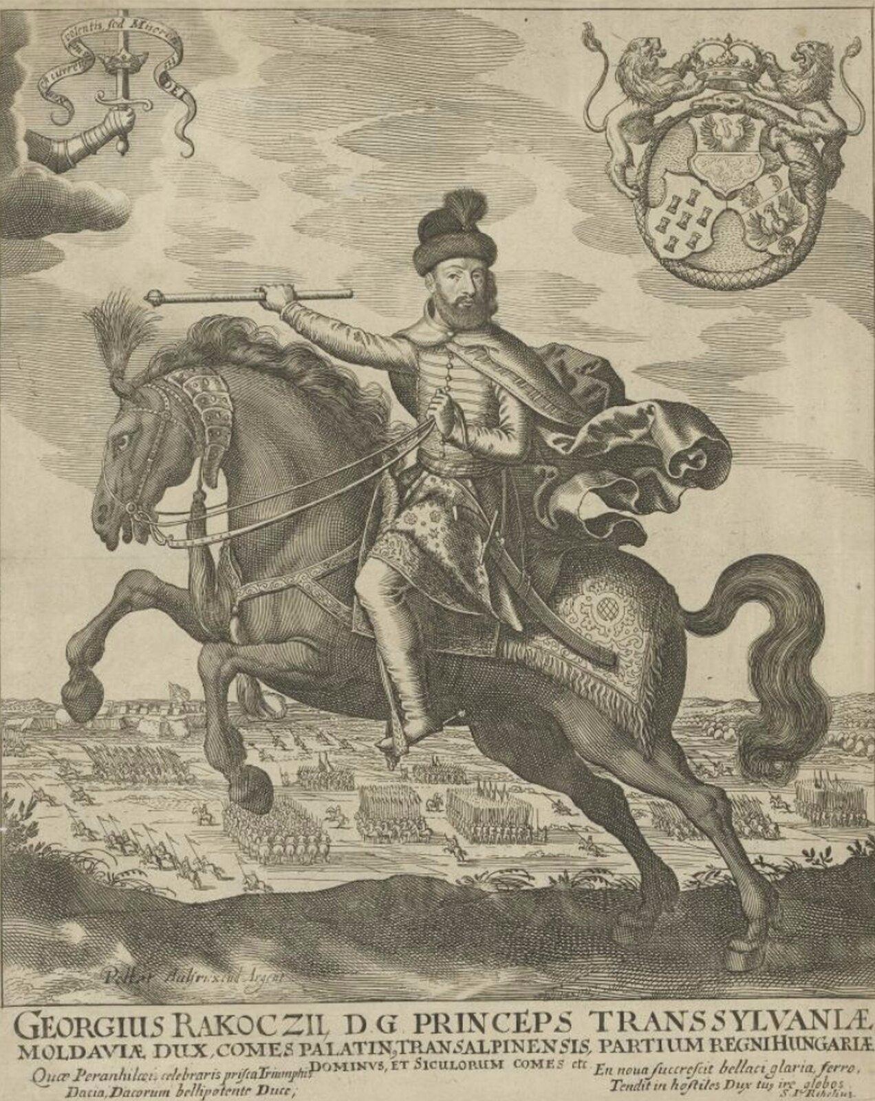 Jerzy II Rakoczy konno Jerzy II Rakoczy, książę Siedmiogrodu.Wgrudniu 1656 roku podpisał ze Szwedami sojusz wRadnot na Węgrzech, na mocy którego miał się dokonać rozbiór Rzeczypospolitej, aRakoczy miał otrzymać m.in. Mazowsze iMałopolskę. Źródło: Peter Aubry, Jerzy II Rakoczy konno, 1657-1686, akwaforta, miedzioryt, domena publiczna.