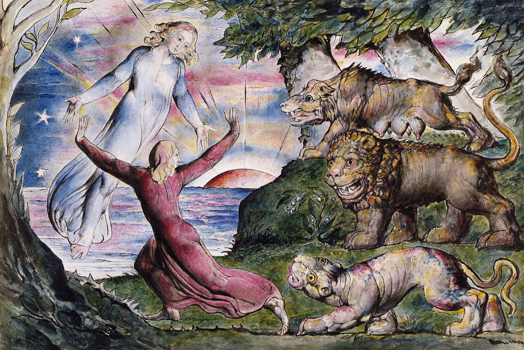 Ilustracja do Boskiej komedii Dantego Ilustracja do Boskiej komedii Dantego Źródło: William Blake, 1824-27, domena publiczna.