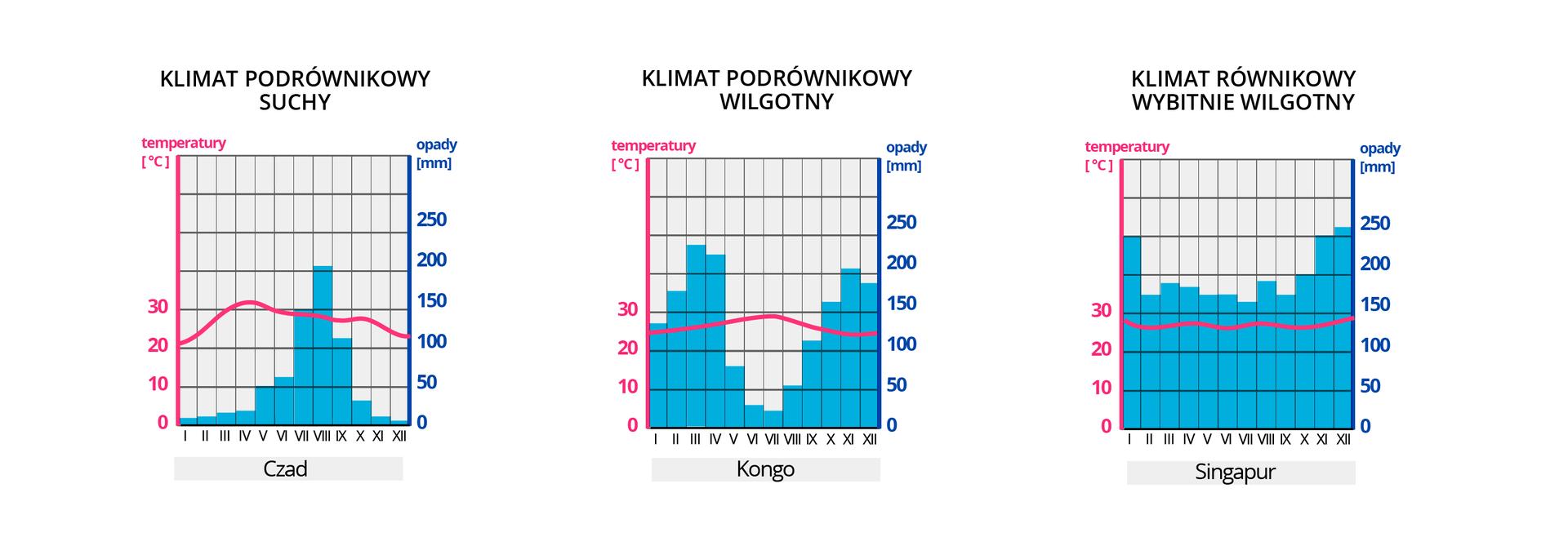 Ilustracja przedstawiająca przykłady klimatogramów dla wybranych typów klimatu wstrefie równikowej.