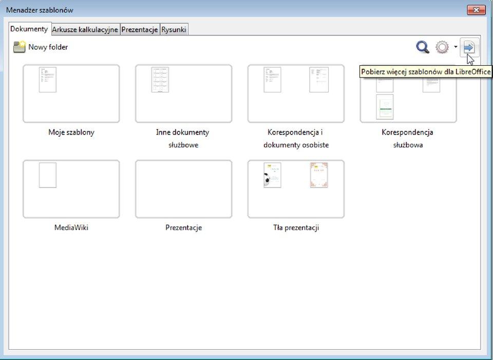 Slajd 2 galerii zrzutów okien procesu tworzenia dokumentu na podstawie szablonu wprogramie LibreOffice Writer