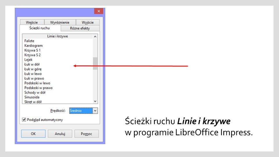 Slajd 2 galerii zrzutów okien zefektami ścieżek ruchu wprogramie LibreOffice Impress