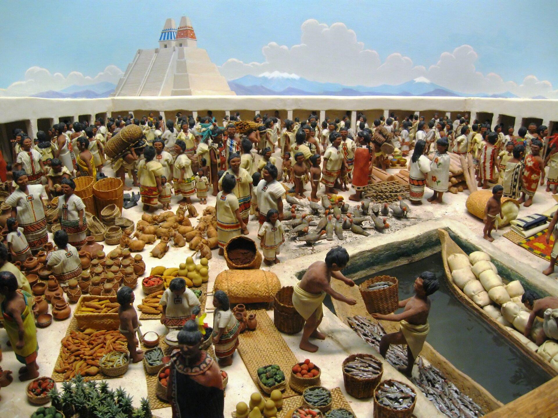 Aztecki targ Aztecki targ Źródło: Joe Ravi, 2010, Wikimedia Commons, licencja: CC BY-SA 3.0.