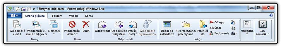 Zrzut fragmentu okna: Skrzynka odbiorcza- Poczta usługi Windows Live