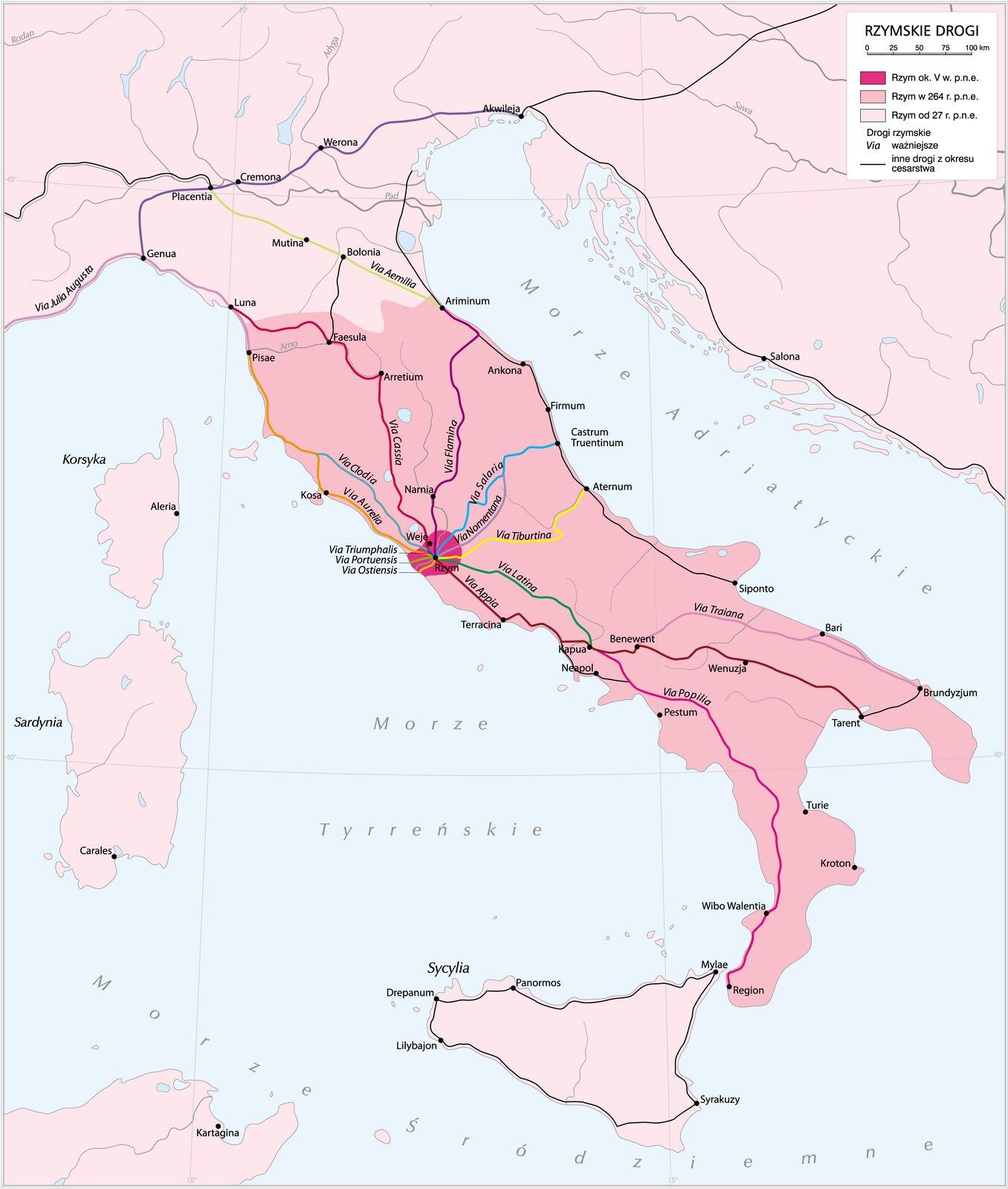 Sieć dróg wimperium rzymskim Sieć dróg wimperium rzymskim Źródło: Krystian Chariza izespół, licencja: CC BY 3.0.