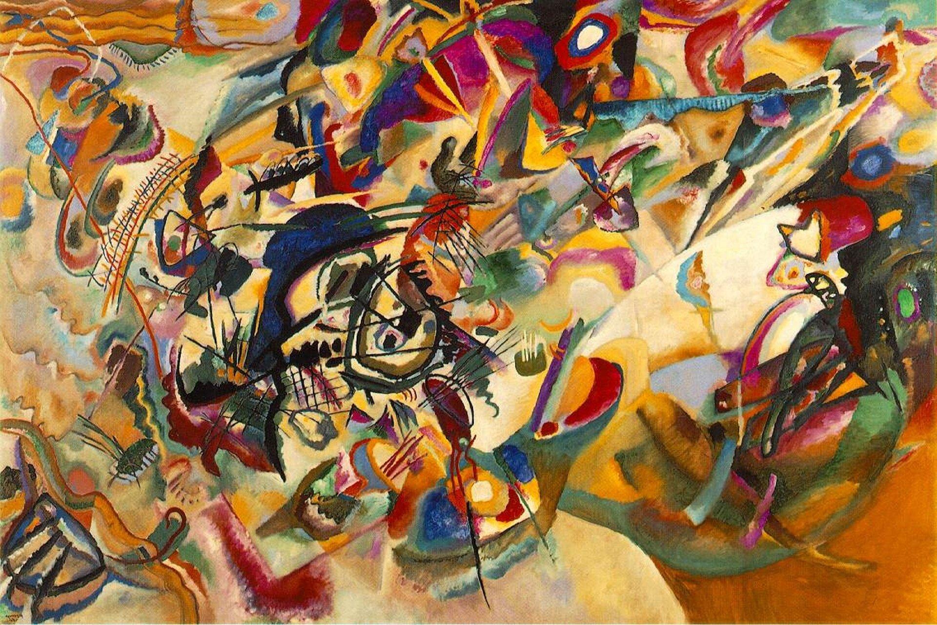 """Ilustracja przedstawia obraz Wassilya Kandinsky'ego pt. """"Kompozycja VII"""". Ukazuje ona kubistyczne dzieło. Kompozycja złożona jest znakładających się na siebie plam kolorów iniewielkiej ilości geometrycznych kształtów. Obraz epatuje wielością barw. Przyciąga kłębowisko czarnych linii ifioletowych plam, znajdujące się nieco na lewo od centrum obrazu. Tworzy ono """"punkt ciężkości"""" kompozycji, kształty na prawo od niej są mniej wyraźne, zaś barwy nieco cieplejsze."""
