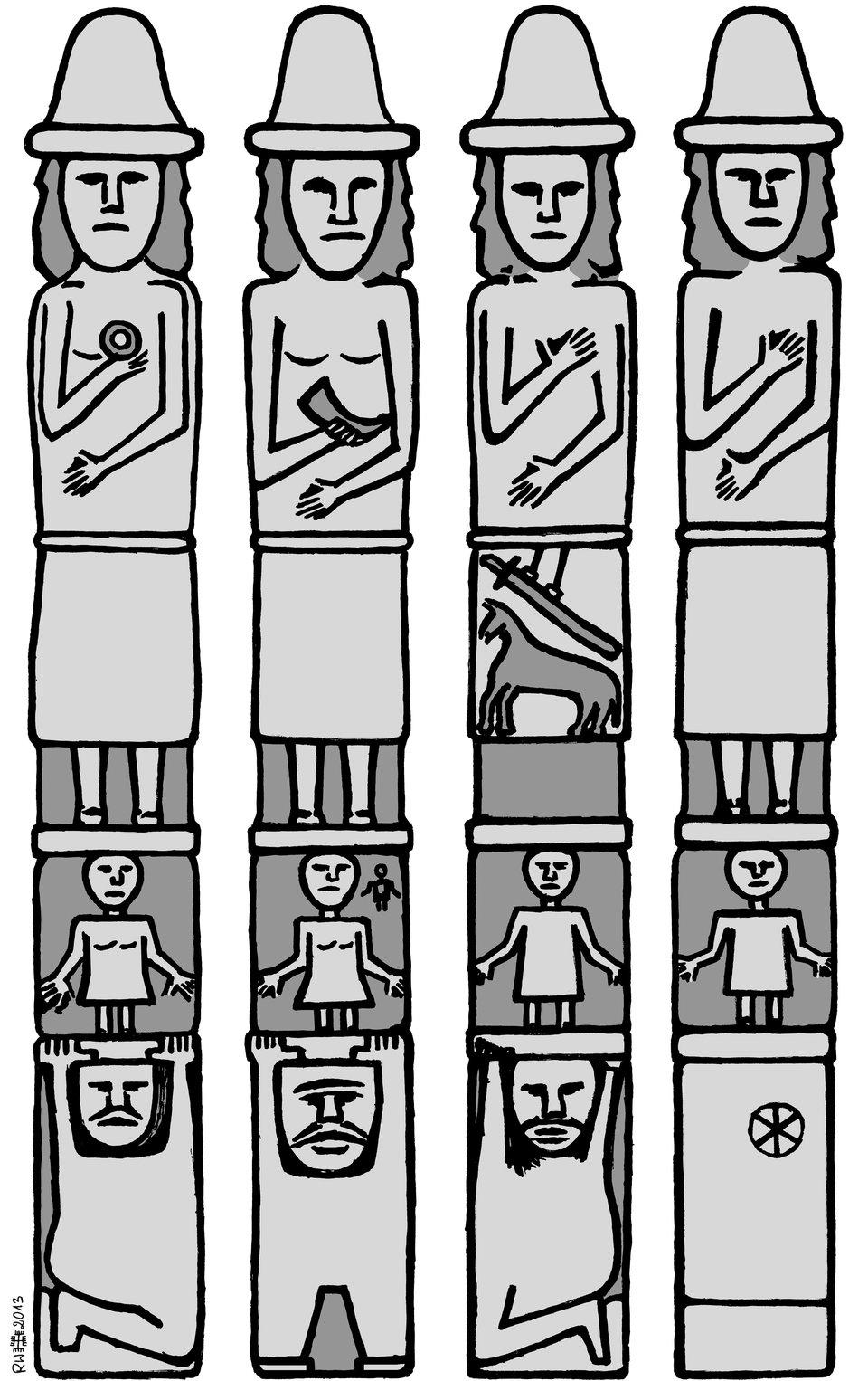 Idol ze Zbrucza Światowid ze Zbrucza - wWidoki posągu ze wszystkich stron. Źródło: Ratomir Wilkowski, Idol ze Zbrucza, rysunek, licencja: CC BY-SA 3.0.