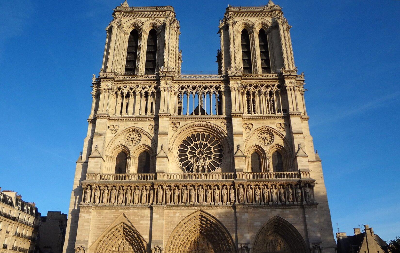 Katedra Notre-Dame wParyżu, fasada zachodnia, 1163–1250 Katedra Notre-Dame wParyżu, fasada zachodnia, 1163–1250 Źródło: domena publiczna.