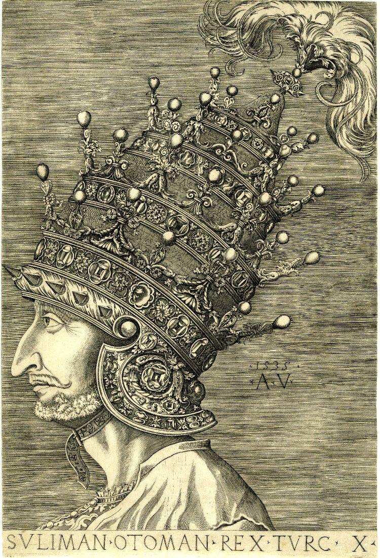 Sulejman Wspaniały Po wielkim zwycięstwie pod Mohaczem wpołowie 1526 roku,Sulejman Wspaniały nie czekał zbyt długo, bo już wiosną następnego rokuwyruszył zkolejną wyprawą na Węgry, by osadzić na tronie JanaZápolyę. Pretensje do tronu węgierskiego mieli też Habsburgowie - dopierow1533 rokuformalnie zaniechania działań wojennych: Ferdynand IHabsburg uznał Jana Zapolyę (te postanowienia zostały powtórzone w1538 roku - Zapolya miał panować dożywotnio, apo jego śmierci tron miał przypaść Habsburgom - ustaleń tych nie dotrzymała szlachta węgierska, powołując na króla syna Zapolyi - Jana II).Nawet po podziale Węgier na trzy częściw1541 roku, dochodziło do ciągłych walk, których kres przyniósł dopiero rozejm z1568 roku. Źródło: Agostino Veneziano, Sulejman Wspaniały, ok. 1535 r., miedzioryt, domena publiczna.